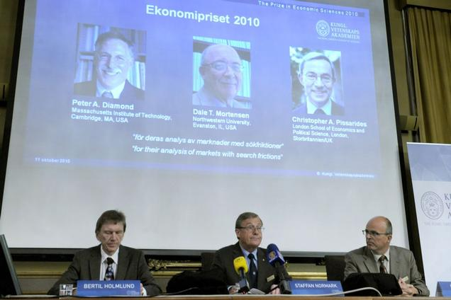 Professor Bertil Holmlund (left), Permanent secretary of the Royal Academy of Sciences Staffan Normark (center) and Professor Per Krusell announce the 2010 Nobel Prize in Economic Sciences on Monday October 11th in Stockholm, Sweden.