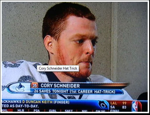 According to Sportsnet, Cory Schneider became the first NHL Goalie to score a hat-trick